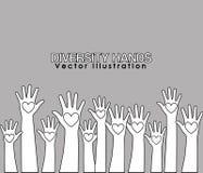 różnorodność ręk projekt ilustracji