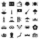 Różnorodności Asia ikony ustawiać, prosty styl Zdjęcie Stock