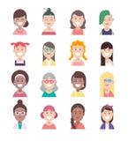 Różnorodności avatar ikony płaskiego setu ludzie, wektorowi kobieta charaktery ilustracji