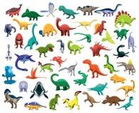 Różnorodny Śliczny Kolorowy dinosaurów charakterów kreskówki wektor royalty ilustracja