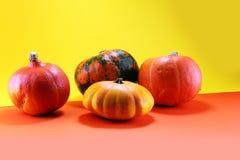 Różnorodny asortyment banie na pomarańczowym tle Jesieni harv fotografia stock