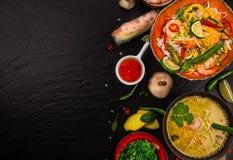 Różnorodny azjatykci posiłki na nieociosanym tle, odgórny widok, miejsce dla teksta Fotografia Royalty Free