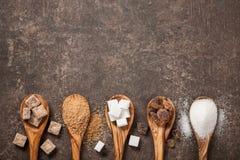 Różnorodny cukier na stole obrazy stock