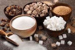 Różnorodny cukier w pucharach zdjęcie royalty free