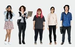 Różnorodny Młodzi Dorosli ludzie studia Odizolowywającego zdjęcie stock