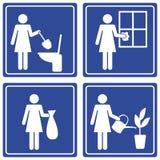różnorodny obowiązki domowe piktograf Fotografia Royalty Free