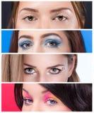 Różnorodny oka makeup zakończenie up fotografia royalty free