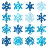 Różnorodny płatek śniegu kształtuje dekoracyjnej zimy ustaloną wektorową ilustrację royalty ilustracja