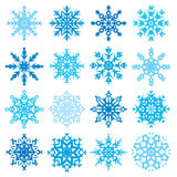 Różnorodny płatek śniegu kształtuje dekoracyjnej zimy ustaloną wektorową ilustrację Obraz Stock