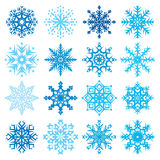 Różnorodny płatek śniegu kształtuje dekoracyjnej zimy ustaloną wektorową ilustrację Fotografia Royalty Free
