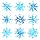 Różnorodny płatek śniegu kształtuje dekoracyjnej zimy ustaloną wektorową ilustrację Fotografia Stock