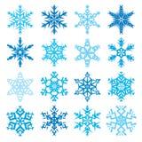 Różnorodny płatek śniegu kształtuje dekoracyjnej zimy ustaloną wektorową ilustrację Obrazy Stock