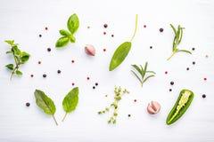 Różnorodny pikantność i ziele na drewnianym tle Mieszkanie pikantność nieatutowi składniki rozmaryny, macierzanka, oregano, mędrz obraz royalty free