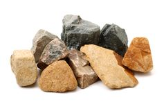 Różnorodny rozrzucony brąz, czerwień i siwieje skały obrazy stock