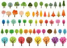 Różnorodny set wektorowi drzewa Obrazy Stock