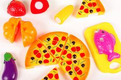 Różnorodny sfałszowany jedzenie jako zabawki na białym tle Fotografia Royalty Free