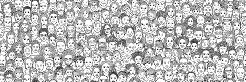 Różnorodny tłum ludzie: dzieciaki, wiek dojrzewania, dorosli i seniory, ilustracja wektor