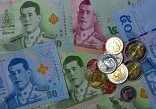 Różnorodny Tajlandzcy banknoty fotografia stock