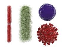 Różnorodny wirus i bakterie odizolowywający na bielu ilustracji