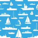 Różnorodnych transportów statków wojennych ikon błękita bezszwowy wzór eps10 Obraz Royalty Free