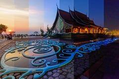 Różny cienia kolor przy Tajlandzkim kościół w Watsirindhornwararam, różnym czasie w jeden ramie/ Fotografia Royalty Free
