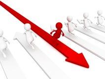 Różny czerwieni 3d mężczyzna lider biega nowego sposób Obrazy Stock