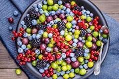 Różny jagoda talerz obraz stock