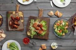 Różny jedzenie gotujący na grillu Obraz Stock