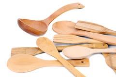 Różny kuchenny drewniany naczynia cutlery. fotografia royalty free