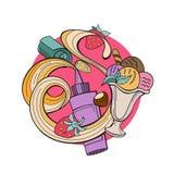 Różny lody z owoc, dokrętkami i polewą, ręka patroszona Obraz Royalty Free