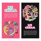 Różny lody z owoc, dokrętkami i polewą, ręka patroszona Zdjęcie Royalty Free