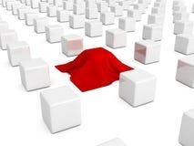 Różny pudełko zakrywający z czerwonym płótnem ilustracji