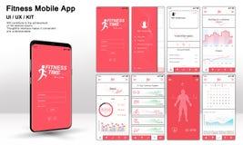 Różny UI, UX, GUI ekranizuje fitnes app ilustracji
