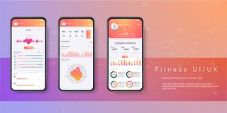 Różny UI, UX, GUI ekranizuje sprawności fizycznej app fotografia stock