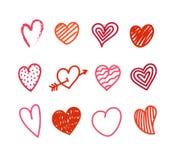 Różny walentynka dnia ręki kolor, rysujący serca Fotografia Royalty Free
