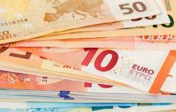 Różnych Euro banknotów zamknięty up Obraz Stock
