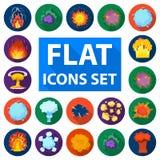 Różnych wybuchów płaskie ikony w ustalonej kolekci dla projekta Błyśnie wektorową symbolu zapasu sieci ilustrację i płonie Obrazy Stock