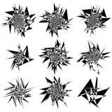 9 różnych zirytowanych, zniweczonych kształtów setów, Abstrakcjonistyczni geometryczni elemen royalty ilustracja