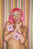 różową perukę kobieta Fotografia Stock
