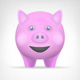 Różowa świnia w frontowego widoku wektorze odizolowywał zwierzęcia Fotografia Royalty Free