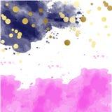 Różowa akwarela kleksów wzoru wierzchołka abstrakta rama royalty ilustracja
