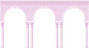 Różowa arkada w orientalnym stylu ilustracji