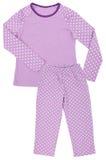 Różowa children dziewczyn piżama ustawia odosobnionego na bielu obraz stock