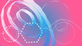 Różowa cyfrowa naukowa abstrakcjonistyczna wolumetryczna kółkowa tekstura lampasy i linie od przyszłości verdure pozyskiwania śro ilustracji