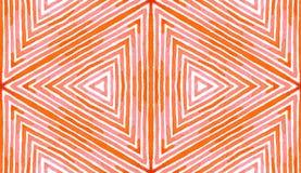 Różowa czerwona Geometryczna akwarela Błogi Bezszwowy wzór Ręka rysujący lampasy Szczotkarska tekstura Amazi obraz stock