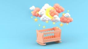 Różowa dziecko kołyska Pod chmurami, księżyc i gwiazdami na Błękitnym tle, obrazy royalty free