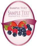 Różowa etykietka z grupą jagody Zdjęcie Stock