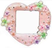 Różowa fotografii rama wykładająca z rhinestones w formie serce ilustracji