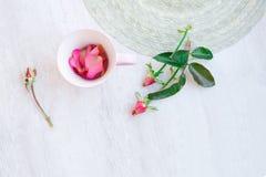 Różowa herbaciana filiżanka z różanymi płatkami Fotografia Stock