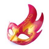 Różowa i złocista karnawał maska odizolowywająca na bielu zdjęcie royalty free
